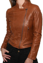 Women's Style Biker Brown Zipper Leather Jacket