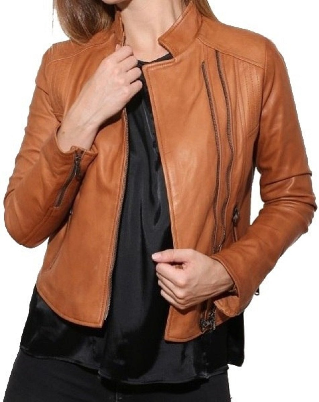 Women's Style Distressed Brown Leather Jacket