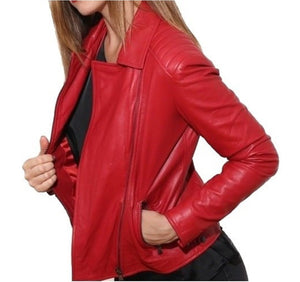 Women's Biker Red Woman Leather Jacket