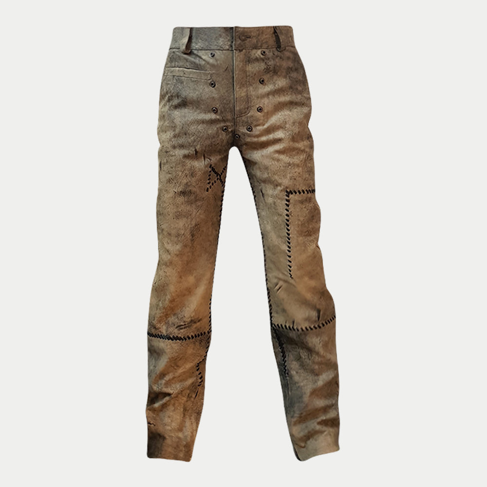 Mad Max Fury Road Motorcycle Biker Distressed Brown Leather Jeans Pants for Mens