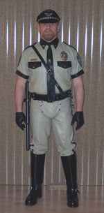 Beige And Black Police Leather Uniform Shirt And Pant