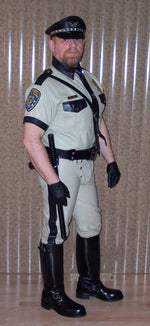 Beige And Black Police Leather Uniform Shirt