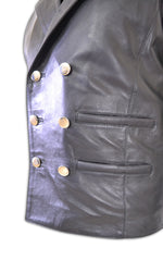 Mens Motorcycle Biker Button Down Leather Vest