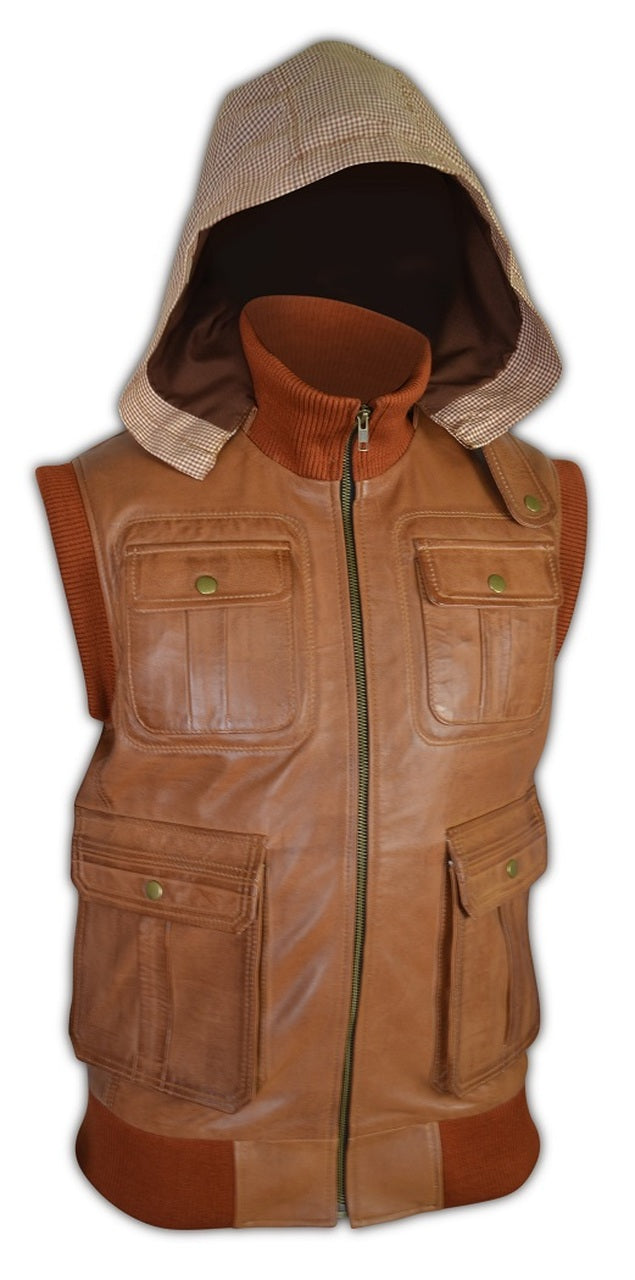 Mens Custom Antique Brown Designer Hooded Leather Vest
