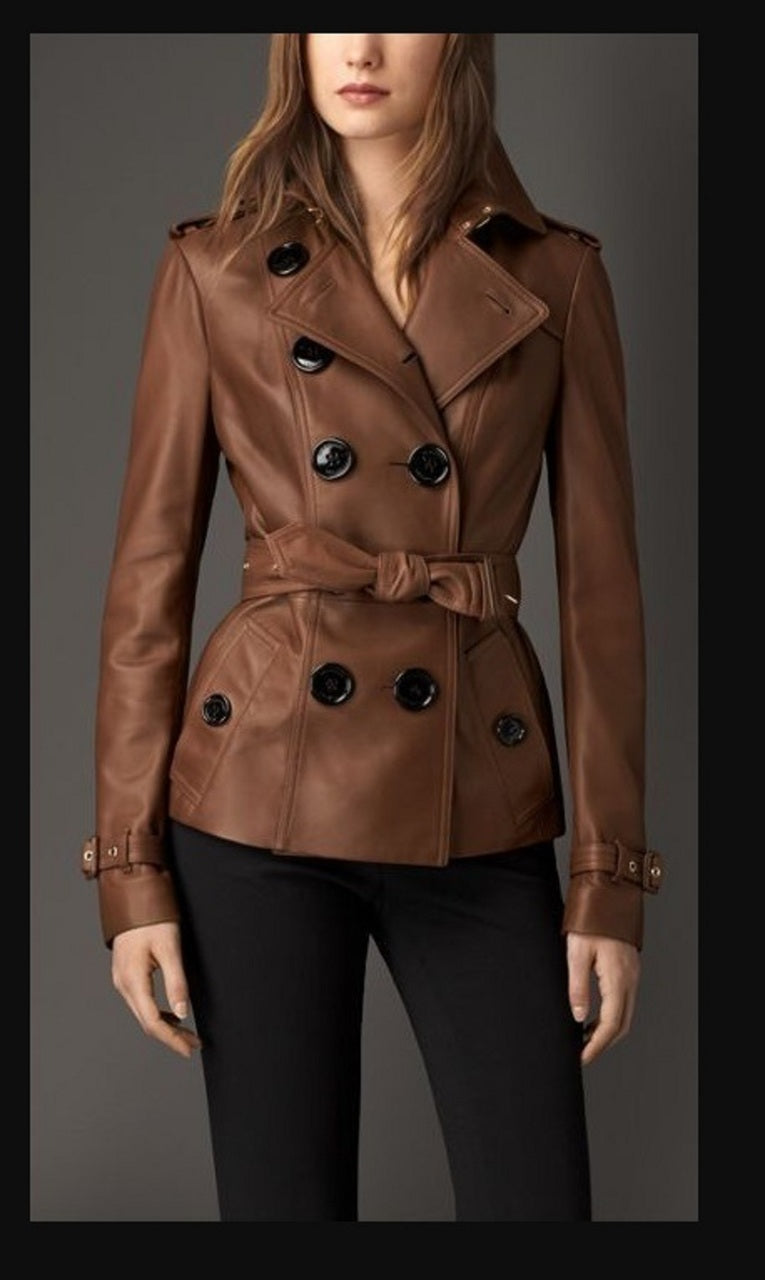 Women Designer Brown Slim Trench Three Quarter Coat