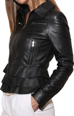 Women's Style Casual Black Zipper Leather Jacket