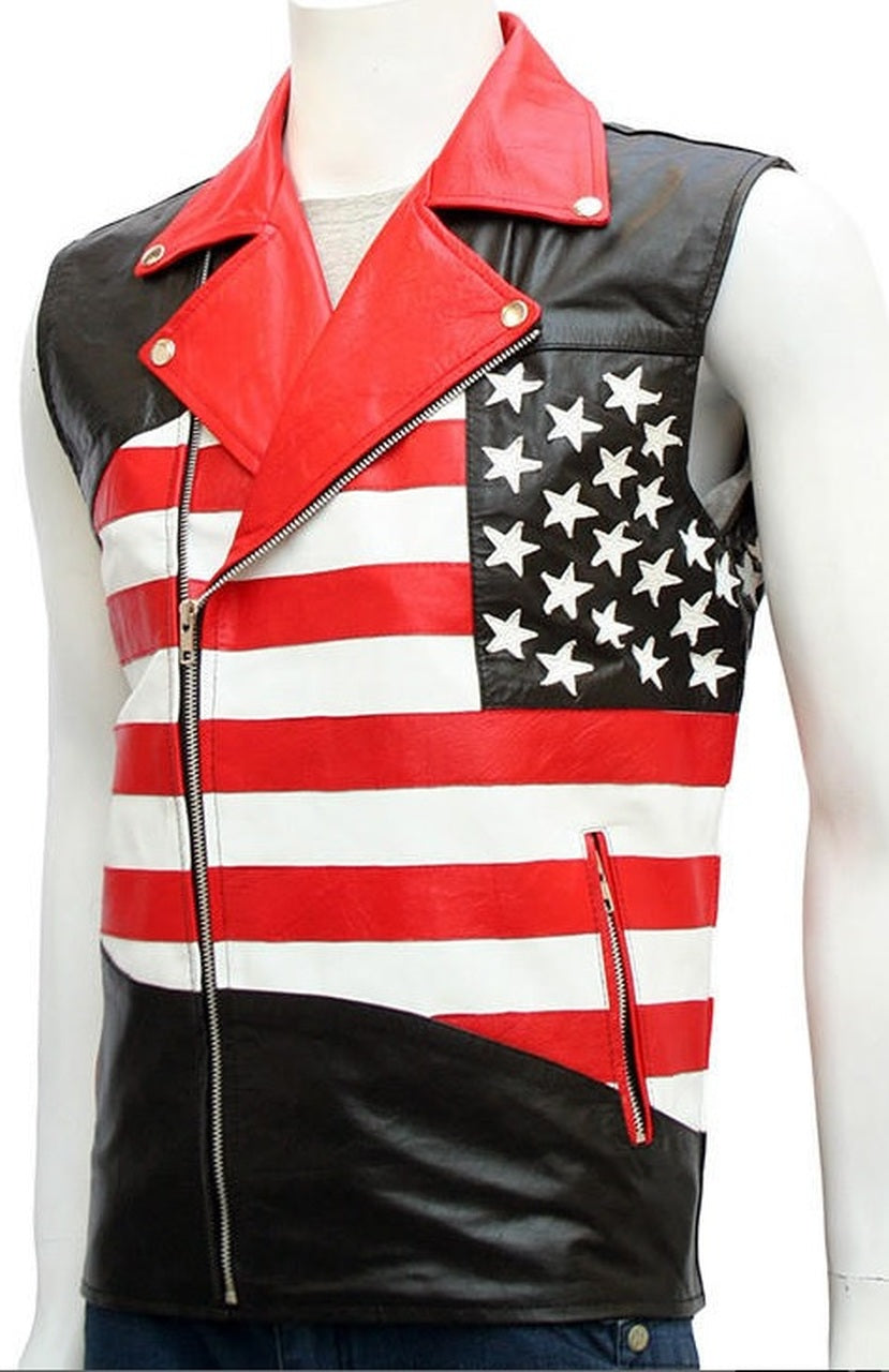 USA Flag American Black Biker Leather Vest