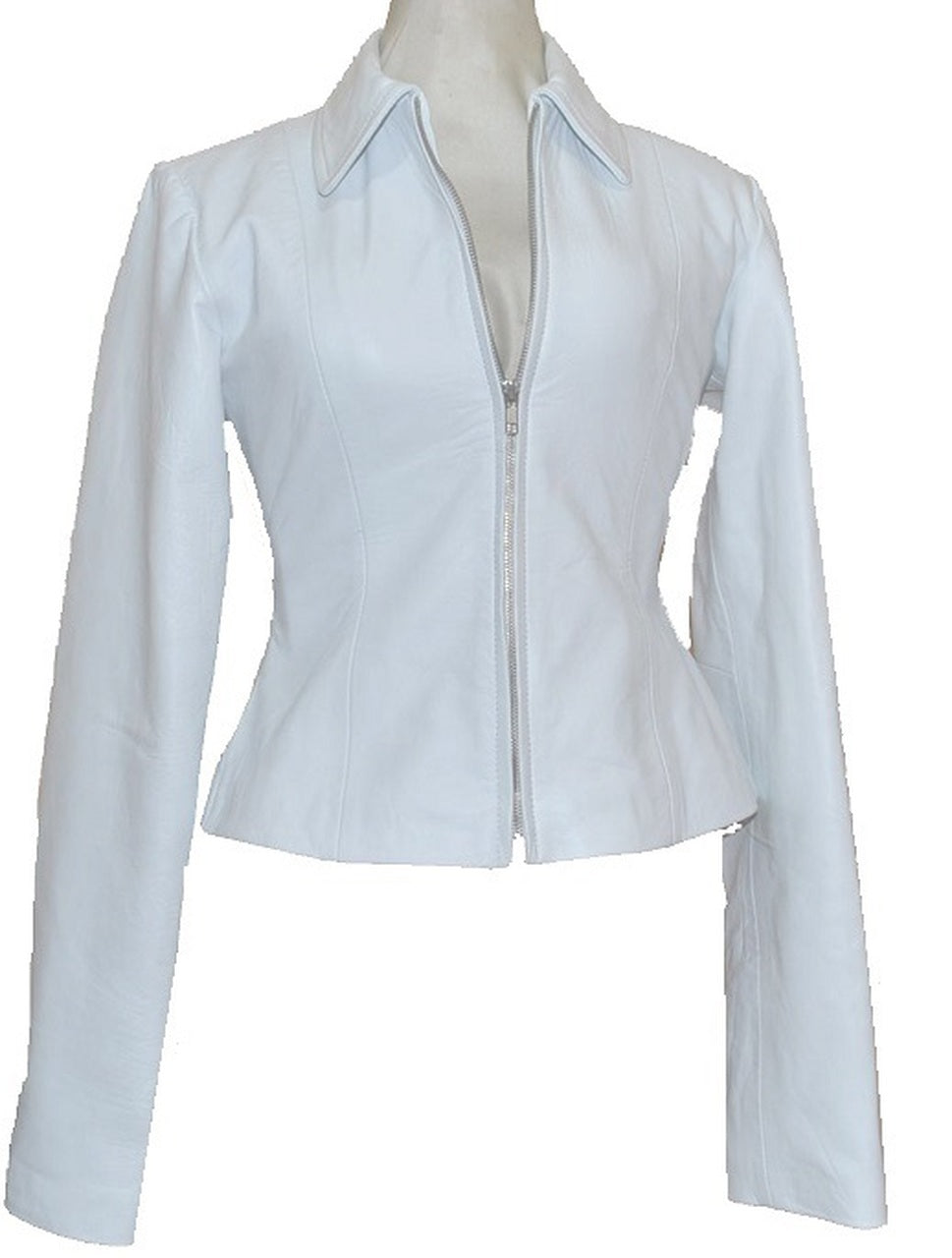 Ladies White Designer Women Leather Jacket