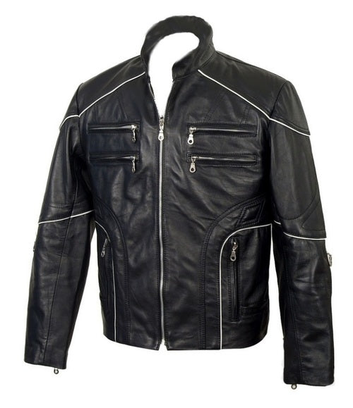 Designer Racer Piping Leather Jacket
