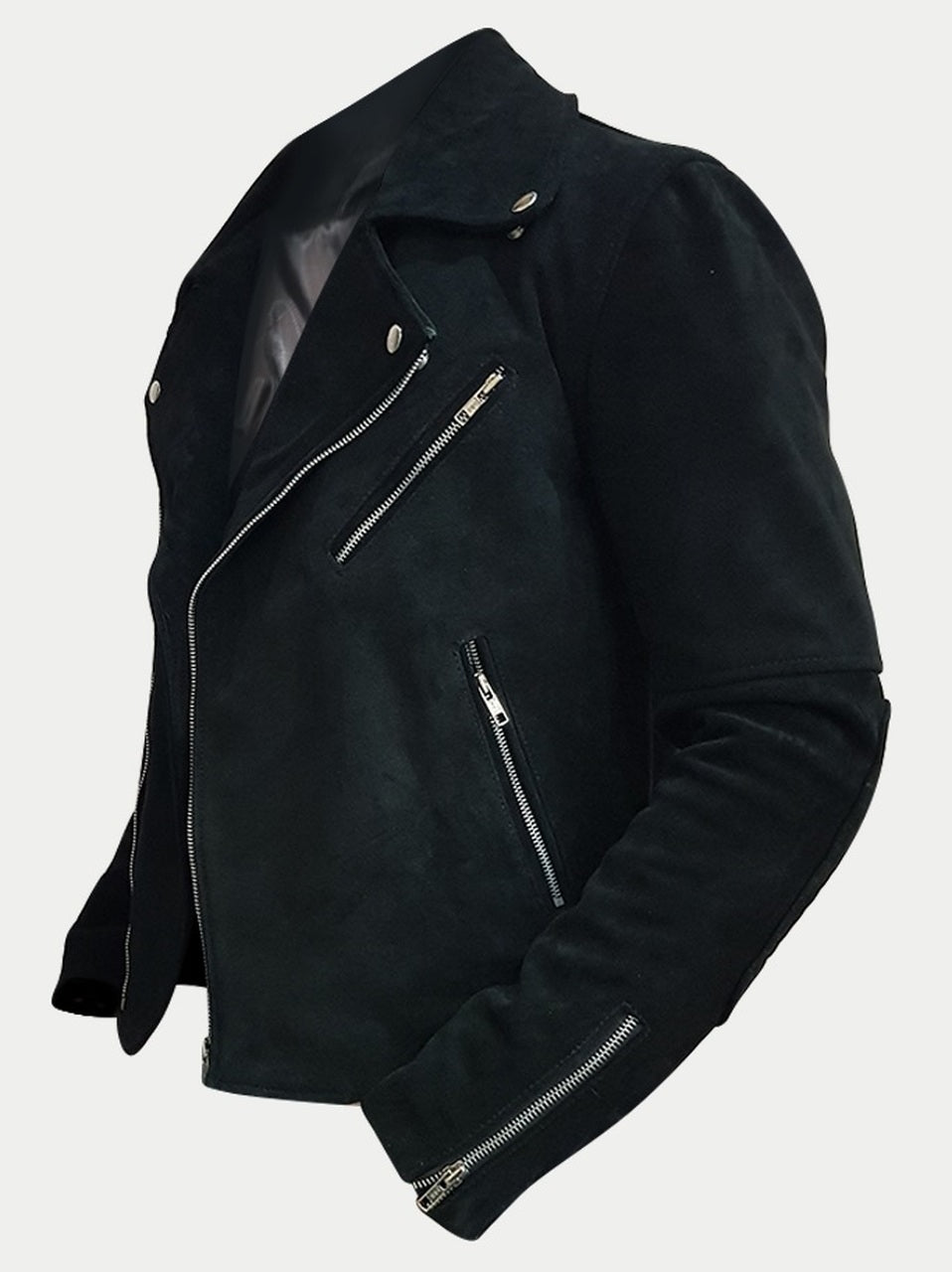 Mens Suede Designer Padded Black Biker Leather Jacket