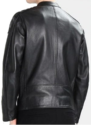 Men's Designer Biker Style Classic Black Genuine Leather Jacket