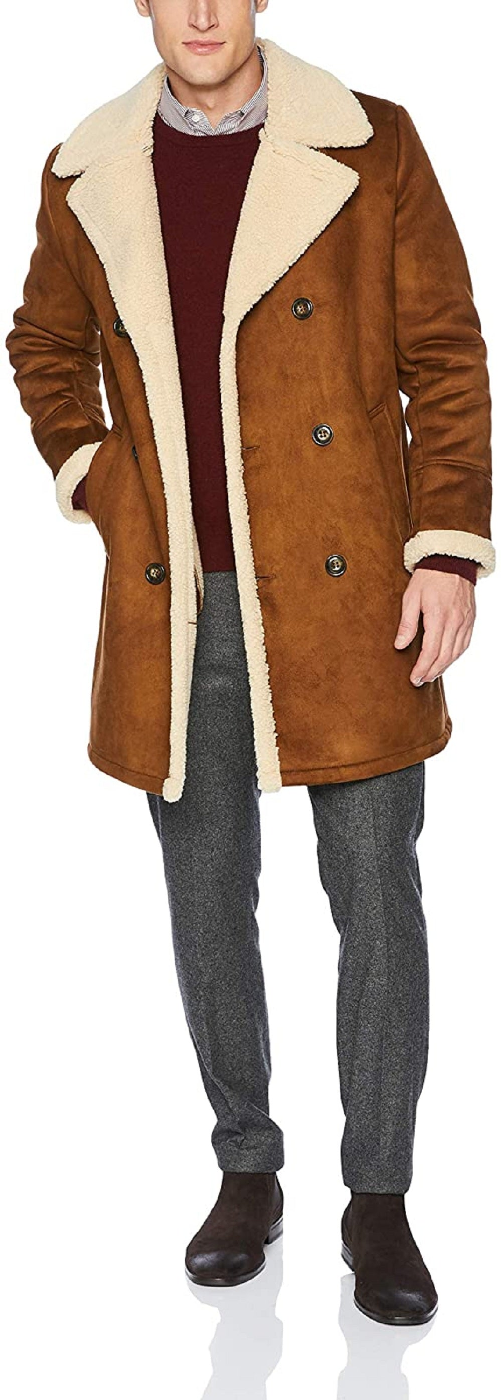 Men's Double Breast Shearling Jacket