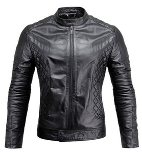 Mens Motorcycle Quilted Design Padded Leather Jacket