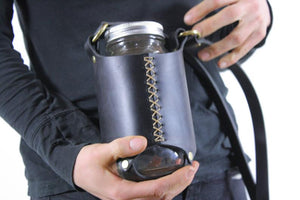 Leather Mason Jar Sling. Mason Jar Sleeve. Ball Jar Sleeve. Ball Jar Sling