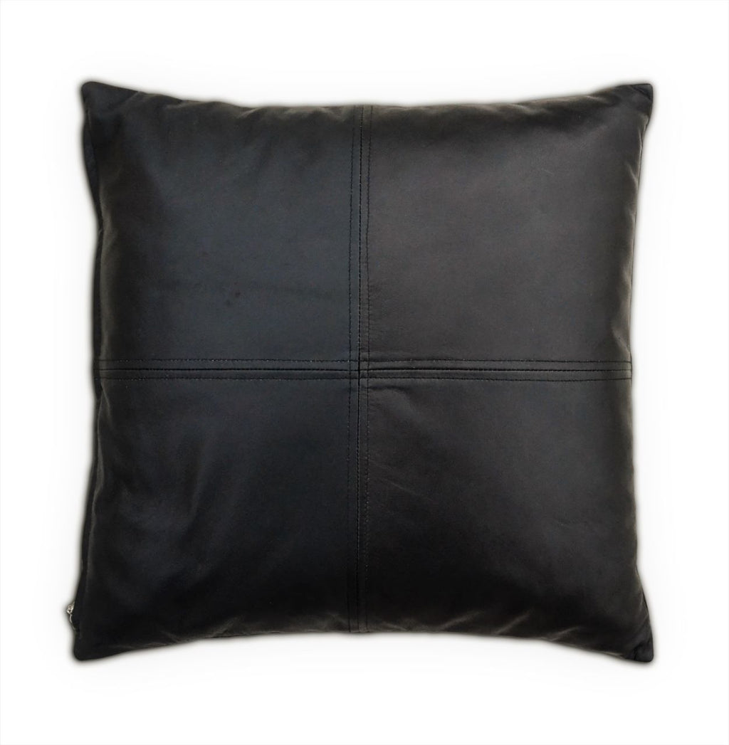 Black Soft Lamb Leather Comfort Pillow Cushion Cover