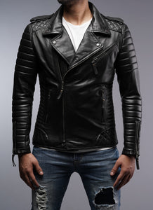 Mens Designer Quilted Padded Biker Gun Metal Leather Jacket