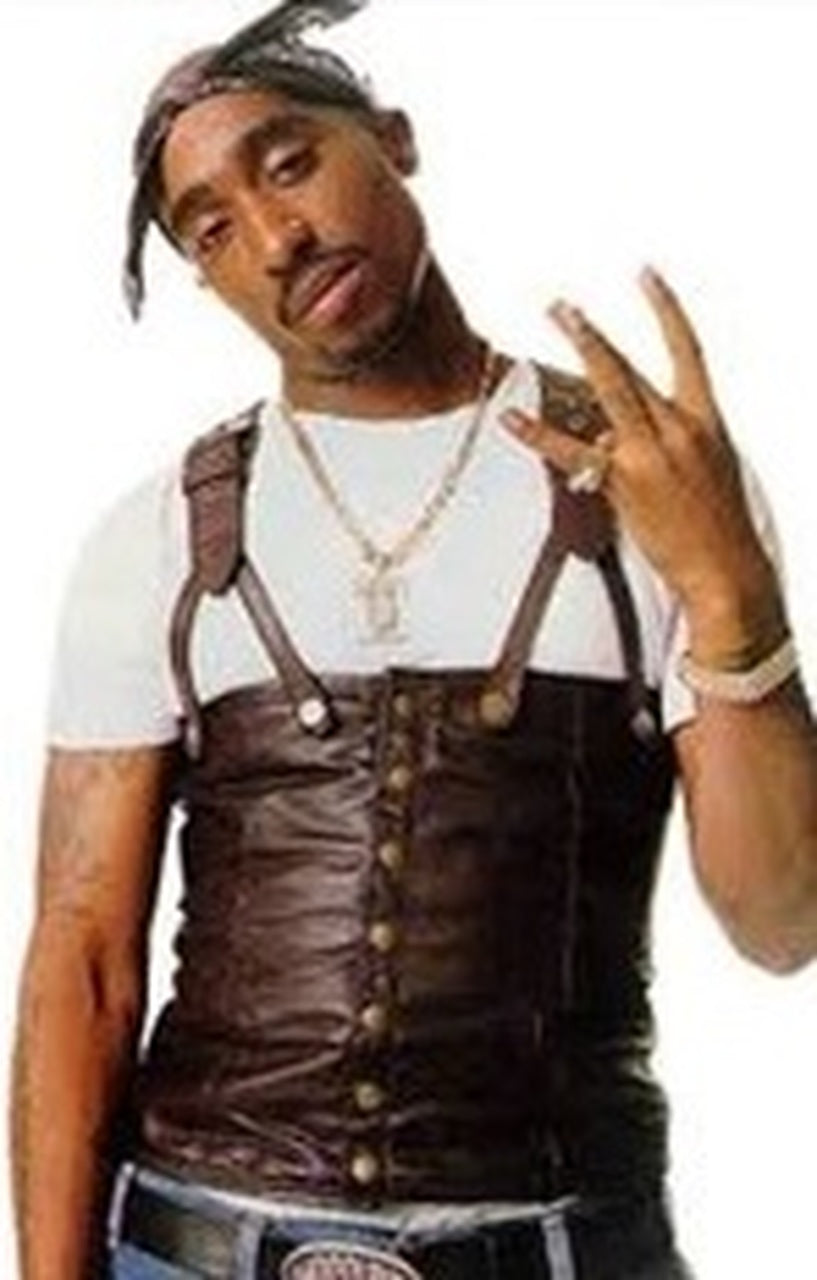 Tupac Shakur Suspender Brown Leather Vest