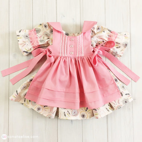 Pink & Grey Baby Girl Pinafore Set - Baby Dreamer