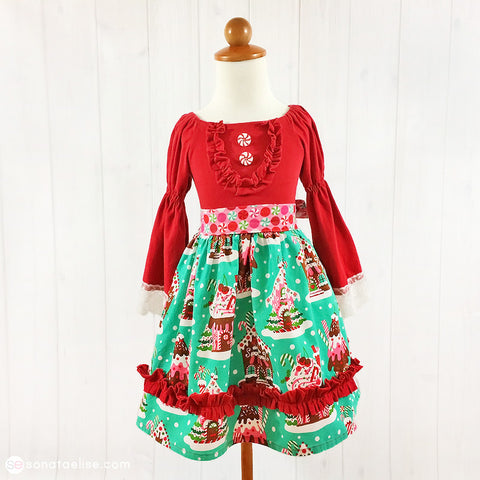 Gingerbread Village Christmas Toddler Girl Dress