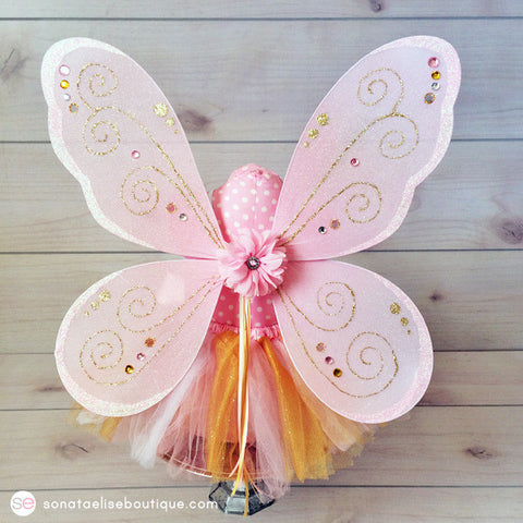 Pink & Gold Fairy Wings