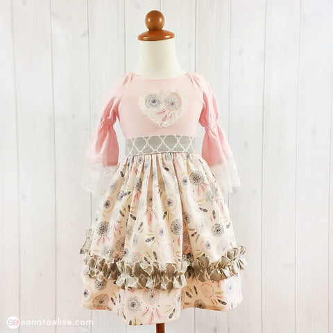 Little Dreamer Pink & Grey Toddler Girl Dress