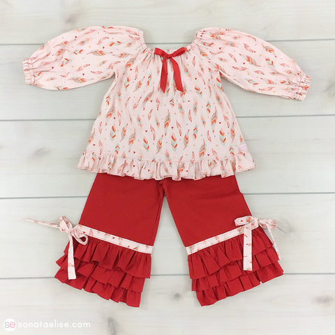 Pink & Red Toddler Girl Outfit - Painted Feathers