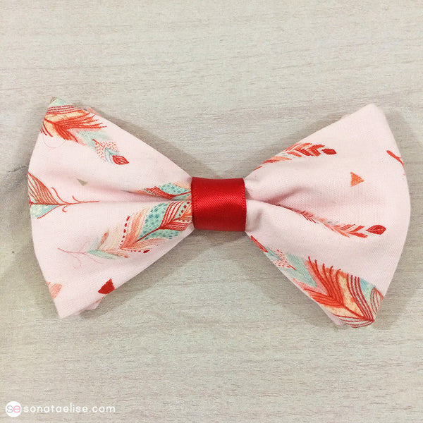 Pink & Red Fabric Hair Bow