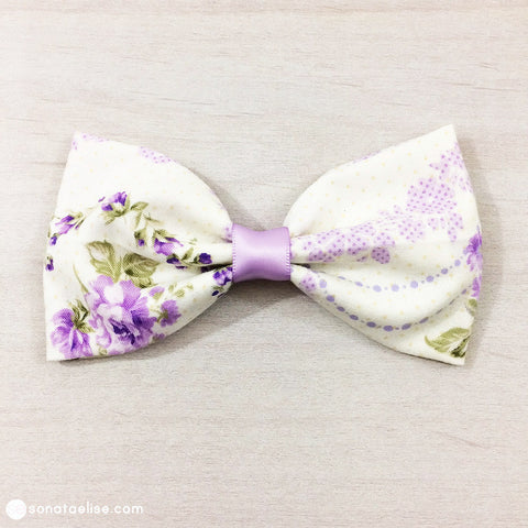 Purple & White Hair Bow - Rose Wisteria
