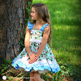 Blue & Pink Toddler Dress - Tea Party Dress