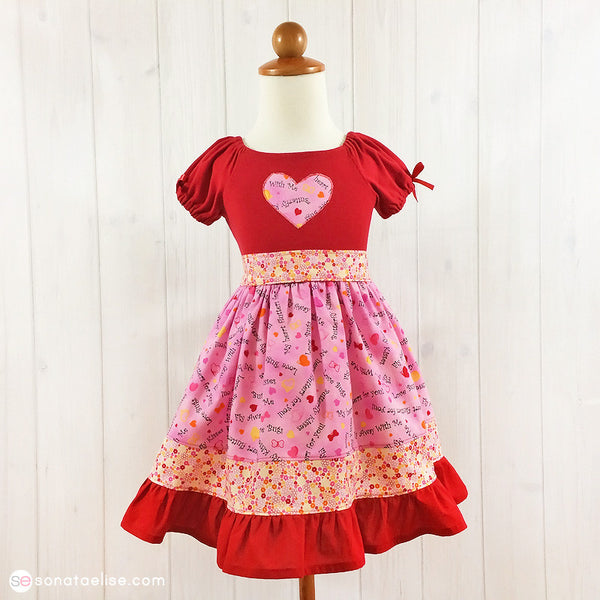 Valentine's Day Toddler Girl Dress - Butterfly Kisses Dress