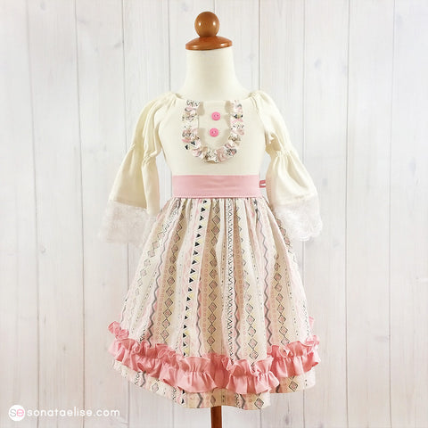 Tribal Princess Pink & White Toddler Girl Dress