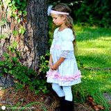 Pink & White Toddler Girl Fall Dress – Tribal Princess Dress