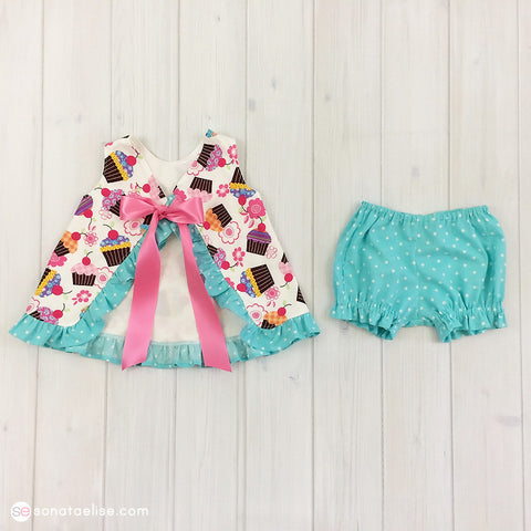 Cupcake Baby Pinafore Top & Bloomers Outfit