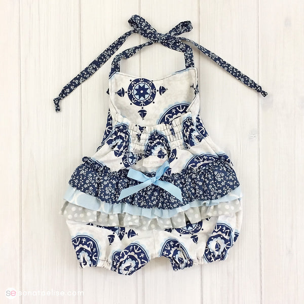 Nautical Ruffled Baby Romper