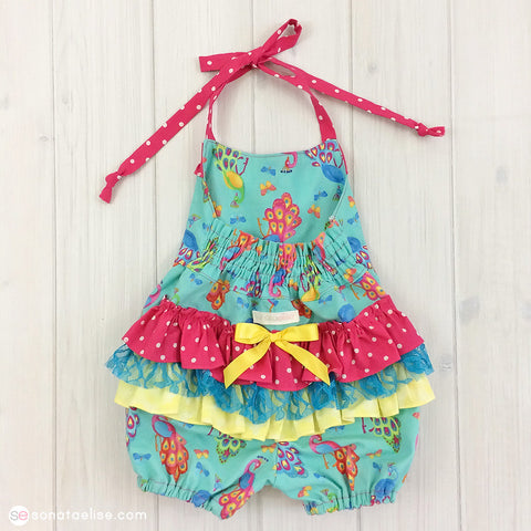 Baby Girl Ruffled Romper - Pretty as a Peacock