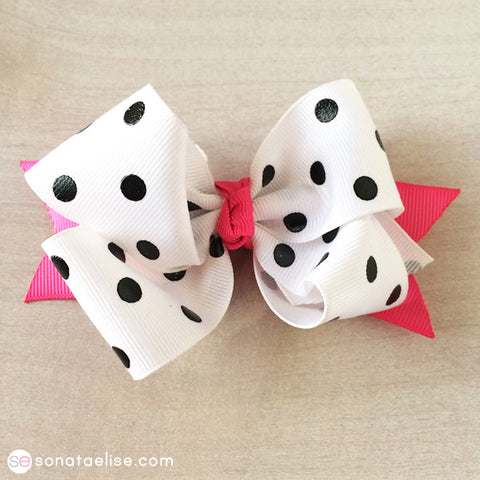 Pink & White Polka Dot Hair Bow