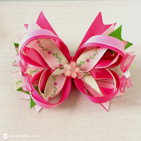 Pink & Green Hair Bow
