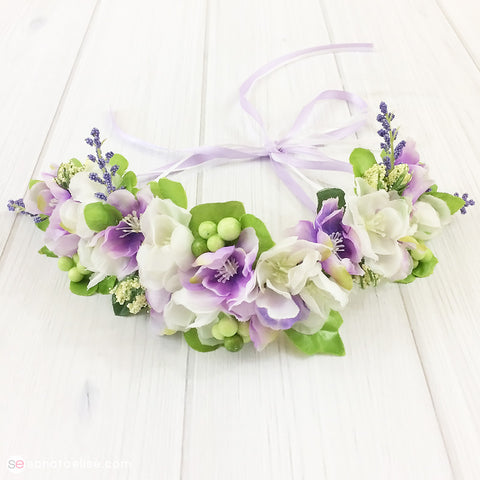 Purple & White Flower Crown