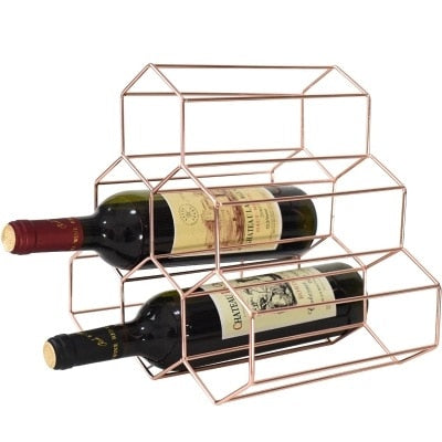 Honeycomb Gold 6 Bottle Premium Wine Rack - Lux Lane