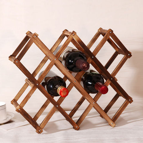 10 Bottle Contemporary Folding Wooden Wine Rack - Lux Lane