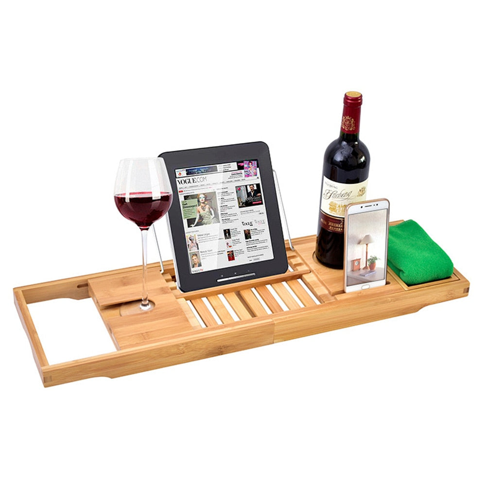 Luxury Bamboo Bath and Wine Glass Holder - Lux Lane