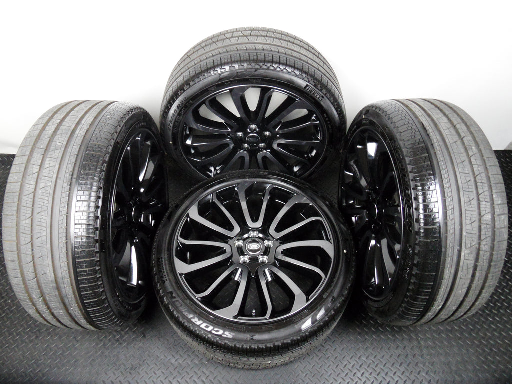 "Genuine OE 22"" Range Rover Style 707 Turbine Black Alloy Wheels With Tyres"