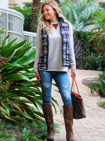 Preppy Plaid Vest in Navy & Camel