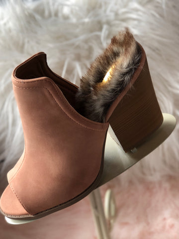 Girls Night Out Mules with Faux Fur