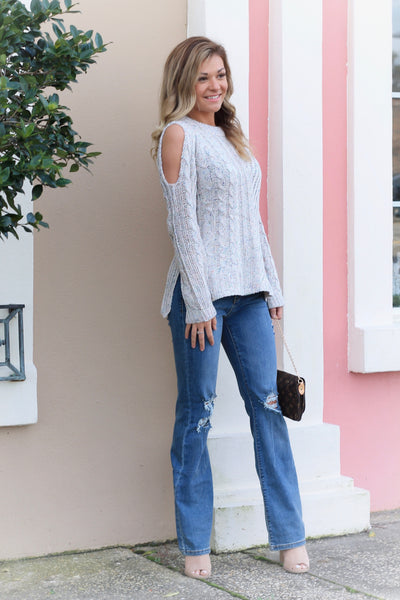 Cozy Confetti Cold Shoulder Sweater