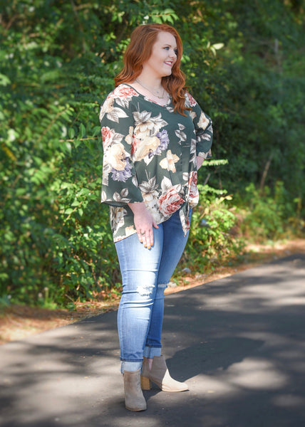 Emeralds in the Fall Floral Top