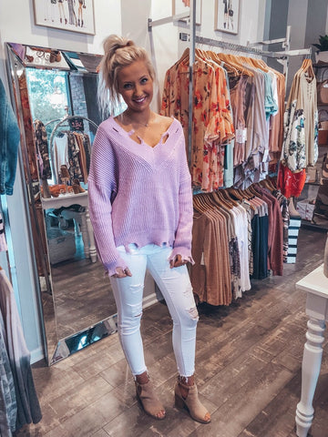 Don't Distress Lavender Sweater