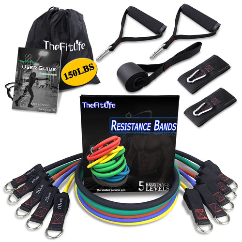 TheFitLife Exercise Resistance Bands with Handles - 5 Fitness Workout Bands, Training Tubes with Large Handles, Ankle Straps, Door Anchor Attachment, Carry Bag and Bonus eBook
