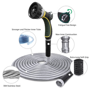 TheFitLife Flexible Metal Garden Hose - 2020 Newest Leak and Break Resistant Design, Stainless Steel Water Hose with Upgrade Solid Metal Fittings, Lightweight Kink Free Durable Easy Storage (50 FT)