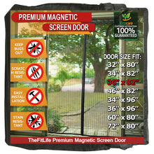 "TheFitLife Magnetic Screen Door - Heavy Duty Mesh Curtain with Full Frame Hook and Loop Powerful Magnets that Snap Shut Automatically - Black 38""x83"" Fits Door Size up to 36""x82"" Max"